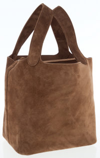 Hermes Chocolate Veau Doblis Picotin PM Tote Bag