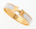 Luxury Accessories:Accessories, Hermes Gold & White Enamel Clic-Clac H Bracelet PM. ...