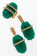 Luxury Accessories:Accessories, Christian Dior Gold, Crystal & Green Stone Earrings and RingSet . ... (Total: 3 Items)