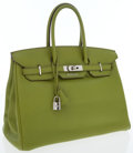 Luxury Accessories:Bags, Hermes 35cm Vert Anis Swift Leather Birkin Bag with PalladiumHardware. ...