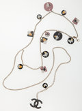 Luxury Accessories:Accessories, Chanel Silver, Crystal & Lucite Chain Necklace or Belt with CCPendant. ...