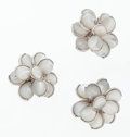 Luxury Accessories:Accessories, Chanel Mother of Pearl & Silver Flower Earrings and Ring . ... (Total: 3 Items)