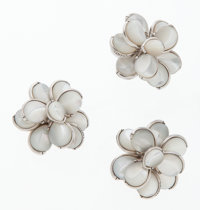 Chanel Mother of Pearl & Silver Flower Earrings and Ring