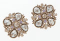 Luxury Accessories:Accessories, Chanel Silver, Crystal & Pearl Star Earrings. ...