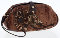 Christian Dior Brown Fabric Jewel Clutch Bag