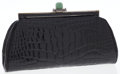 Luxury Accessories:Bags, Judith Leiber Black Crocodile Clutch Bag with Gold Frame. ...