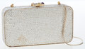 Luxury Accessories:Bags, Judith Leiber Silver Full Bead Crystal Minaudiere Evening Bag. ...