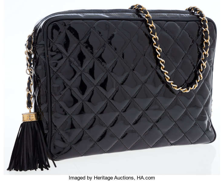 2aa384276937 Luxury Accessories:Bags, Chanel Black Patent Leather Large Camera Bag.