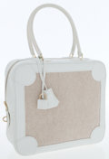 Luxury Accessories:Bags, Hermes White Clemence Leather & Toile Omnibus PM Bag. ...