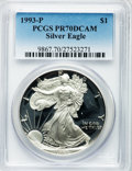 Modern Bullion Coins: , 1993-P $1 Silver Eagle PR70 Deep Cameo PCGS. PCGS Population (282).NGC Census: (309). Mintage: 403,625. Numismedia Wsl. Pr...