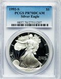 Modern Bullion Coins: , 1992-S $1 Silver Eagle PR70 Deep Cameo PCGS. PCGS Population (551).NGC Census: (770). Mintage: 498,654. Numismedia Wsl. Pr...
