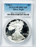 Modern Bullion Coins: , 1988-S $1 Silver Eagle PR70 Deep Cameo PCGS. PCGS Population (472).NGC Census: (599). Mintage: 557,370. Numismedia Wsl. Pr...