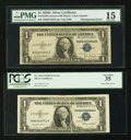 Error Notes:Error Group Lots, Fr. 1613N $1 1935D Narrow Silver Certificate PMG Choice Fine 15;Fr. 1614 $1 Silver Certificates. Three Examples. PCGS Very Fi...(Total: 4 notes)
