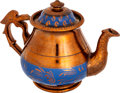 Antiques:Decorative Americana, Fine Copper Lustre Teapot with Patriotic Eagle Handle....