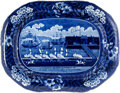 Antiques:Decorative Americana, Historical Blue: Landing of Lafayette Platter....