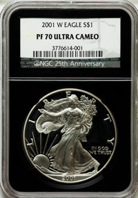 2001-W $1 Silver Eagle PR70 Ultra Cameo NGC. 25th Anniversary Holder. NGC Census: (3540). PCGS Population (1080). Numism...