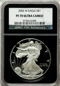 Modern Bullion Coins, 2002-W $1 Silver Eagle PR70 Ultra Cameo NGC. 25th AnniversaryHolder. NGC Census: (3639). PCGS Population (1478). Numismed...