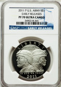 Modern Issues, 2011-P $1 U.S. Army, Early Releases PR70 Ultra Cameo NGC. NGCCensus: (1526). PCGS Population (106)....
