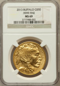 Modern Bullion Coins, 2013 G$50 One-Ounce American Buffalo MS69 NGC. .9999 Fine. NGCCensus: (67/253). PCGS Population (5/1)....