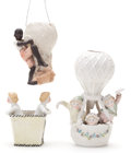 Antiques:Decorative Americana, Three Figural German Bisque Ballooning Statues with Children, Circa1885.... (Total: 3 Items)