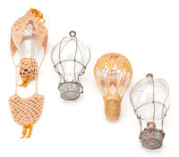 Group lot of Four Turn of the Century Clear Glass Balloon Christmas Ornaments from the Late 19th Century