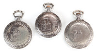 Three Silver Cased Pocket Watches with Embossed Ballooning Scenes, from the Late 19th Century