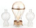 Antiques:Decorative Americana, Pair of Hot Air Balloon Figural Bottles and a Glass Balloon, withLid. ... (Total: 3 Items)