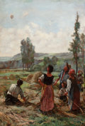 Antiques:Decorative Americana, Peasants Admiring a Hot Air Balloon Ascending, Oil on Canvas....
