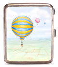Antiques:Decorative Americana, English Silver Gilt and Enamel Cigarette Case with BallooningScene....