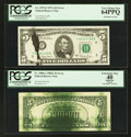 Error Notes:Ink Smears, Fr. 1975-F $5 1977A Federal Reserve Note. PCGS Very Choice New64PPQ; Fr. 1980-G $5 1988A Federal Reserve Note. PCGS Apparent ...(Total: 2 notes)