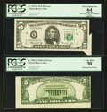 Error Notes:Error Group Lots, Fr. 1962-L $5 1950A Federal Reserve Note. PCGS Very Fine 30; Fr.1973-K $5 1974 Federal Reserve Note. PCGS Apparent Very Choic...(Total: 2 notes)
