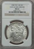Morgan Dollars, 1900 $1 Vam-24, Doubled Die Reverse Arrows MS62 NGC. Top-100. PCGSPopulation (28/101).. From The Par...
