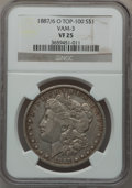 Morgan Dollars, 1887/6-O $1 Vam-3 VF25 NGC. Top-100. PCGS Population (1/43)..From The Parcfeld Collection....