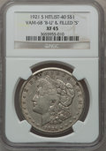 "Morgan Dollars, 1921-S $1 Vam-6A, ""B-U"" & Weak ""S"" XF45 NGC. Hitlist-40. .From The Parcfeld Collection...."