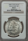 "Morgan Dollars, 1884-O $1 Vam-25, Multiple Punched Date ""88"" MS62 NGC. Hot-50. PCGSPopulation (21/27).. From The Par..."