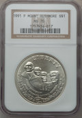 Modern Issues: , 1991-P $1 Mount Rushmore Silver Dollar MS70 NGC. NGC Census: (509).PCGS Population (316). Mintage: 133,139. Numismedia Wsl...