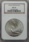 Modern Issues: , 1994-W $1 Vietnam Veterans Memorial Silver Dollar MS70 NGC. NGCCensus: (503). PCGS Population (316). Mintage: 57,317. Numi...