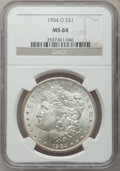 Morgan Dollars: , 1904-O $1 MS64 NGC. NGC Census: (58934/17176). PCGS Population(46611/11396). Mintage: 3,720,000. Numismedia Wsl. Price for...