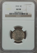 Liberty Nickels: , 1910 5C AU58 NGC. NGC Census: (39/527). PCGS Population (69/607).Mintage: 30,169,352. Numismedia Wsl. Price for problem fr...