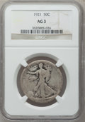 Walking Liberty Half Dollars: , 1921 50C AG3 NGC. NGC Census: (0/836). PCGS Population (74/1391).Mintage: 246,000. Numismedia Wsl. Price for problem free ...