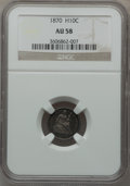Seated Half Dimes: , 1870 H10C AU58 NGC. NGC Census: (29/211). PCGS Population (15/180).Mintage: 535,000. Numismedia Wsl. Price for problem fre...