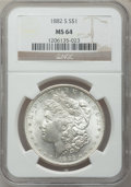 Morgan Dollars: , 1882-S $1 MS64 NGC. NGC Census: (28327/25689). PCGS Population(29145/21935). Mintage: 9,250,000. Numismedia Wsl. Price for...