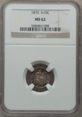 Seated Half Dimes: , 1870 H10C MS62 NGC. NGC Census: (54/143). PCGS Population (47/114).Mintage: 535,000. Numismedia Wsl. Price for problem fre...