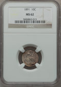 Seated Dimes: , 1891 10C MS62 NGC. NGC Census: (106/640). PCGS Population(112/580). Mintage: 15,310,600. Numismedia Wsl. Price forproblem...