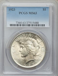 Peace Dollars: , 1923 $1 MS63 PCGS. PCGS Population (70595/92506). NGC Census:(82975/169657). Mintage: 30,800,000. Numismedia Wsl. Price fo...