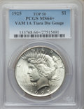 Peace Dollars, 1925 $1 Tiara Die Gouge MS64+ PCGS. VAM-1A. TOP-50. PCGS Population(11/20). ...