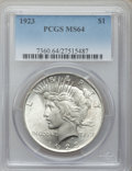 Peace Dollars: , 1923 $1 MS64 PCGS. PCGS Population (75627/16879). NGC Census:(132145/37512). Mintage: 30,800,000. Numismedia Wsl. Price fo...