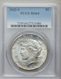 Peace Dollars: , 1922-S $1 MS64 PCGS. PCGS Population (1834/306). NGC Census:(1771/275). Mintage: 17,475,000. Numismedia Wsl. Price for pro...
