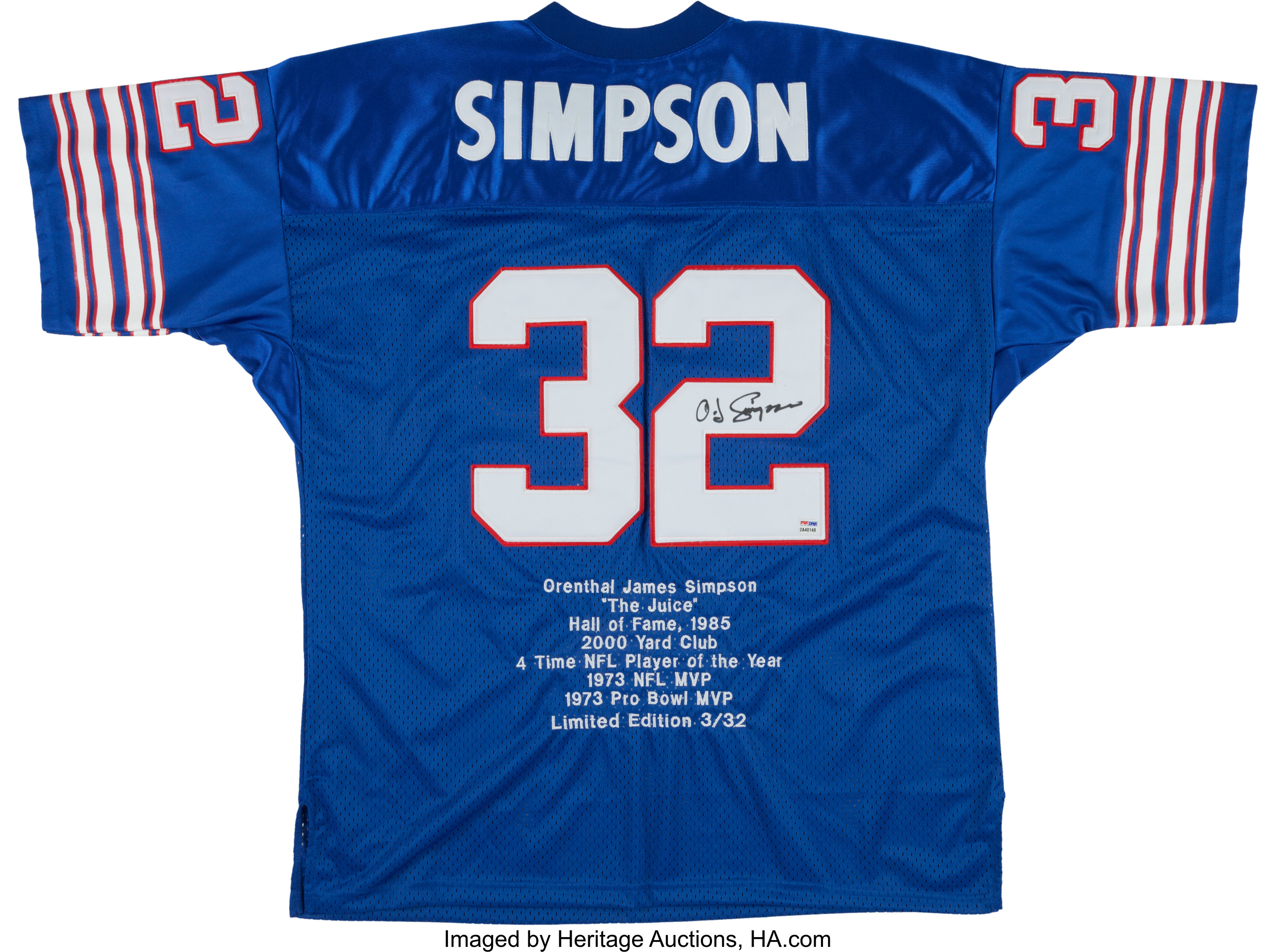separation shoes 5770d 860a9 O.J. Simpson Signed Buffalo Bills Jersey.... Football ...