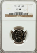 Proof Jefferson Nickels: , 1971 5C No S PR68 NGC. NGC Census: (6/1). PCGS Population (9/0).Mintage: 1,655. Numismedia Wsl. Price for problem free NGC...